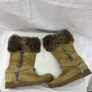 NWOT Coach Dee Ann A7294 6 B Tan Suede Rabbit Fur